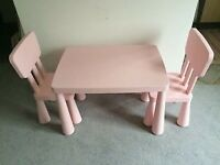 IKEA pink kids table & 2 chairs