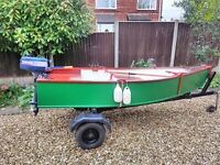 10ft fishing boat outboard oars& trailer maney extras