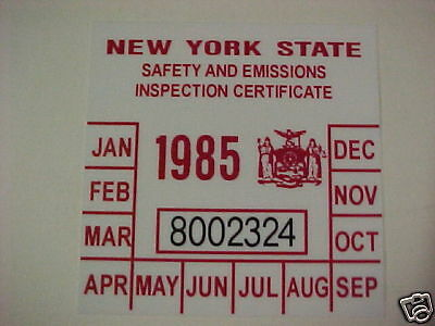 new york 1985 registration inspection sticker windshild