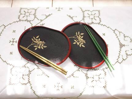2000 Decorative Japanese Sushi Oval Plates Set of 2 NEW