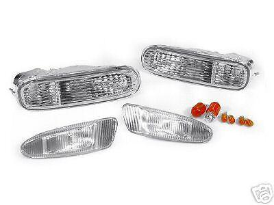 Chrome Clear Bumper Signal + Side Marker Lights For 1997-1998 Toyota Supra Mk.4