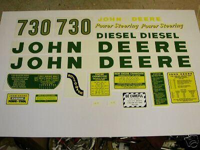 John Deere Model 730 Diesel Tractor Decal Set - New Free Shipping
