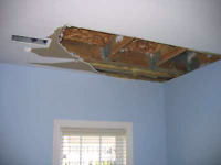DRYWALL REPAIR-- WATER LEAK DAMAGE// PATCH HOLE& PAINT