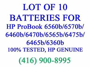 LOT OF 10 X GENUINE HP Battery for ProBook 6560b/6570b/6460b/6470b/6565b/6475b/6465b/6360b Batteries Original