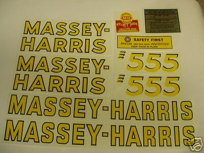 Massey Harris 555 Tractor Decal Set- New