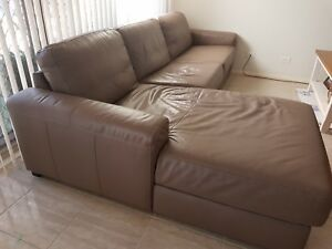 Vue from Myer 3.5 yr old 3 seat lounge plus chaise brown colour Leppington Camden Area Preview