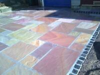 Cheapest Indian stone paving patio packs grey brown green raj flags
