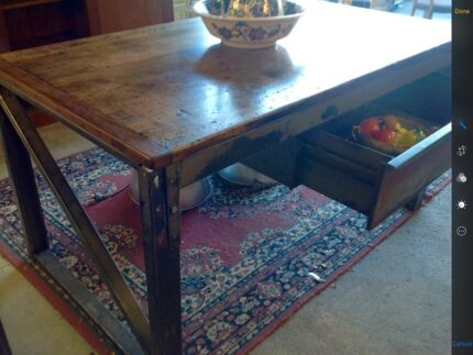 "RUSTIC INDUSTRIAL KITCHEN / DINING TABLE ""UNUSUAL PIECE"""