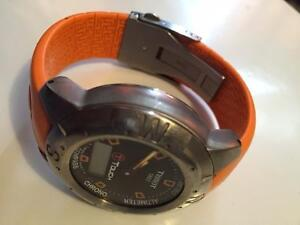 Tissot T-Touch Watch Orange band - needs battery - crown missing