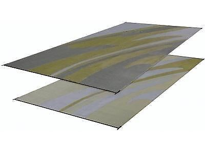RV Patio Mat Motorhome Awing Mat Trailer Outdoor Rug Silver Gold Wave 8x20