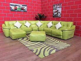 LIME GREEN LEATHER DFS ZARA CORNER SOFA MODULAR GOOD CONDITION DELIVERY