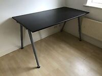 large desk, adjustable height available with shelf - black