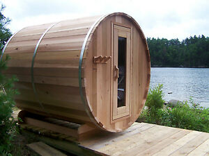 Wood Burning 7' x 8' Clear Red Cedar Barrel Sauna. Seats Six