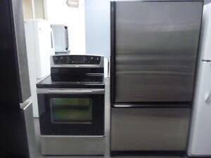 74- Réfrigérateur  AMANA 36''  Frigo avec Cuisinière STAINLESS  36'' Fridge and Stove