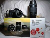 Canon 100D digital dslr camera with 3 lenses