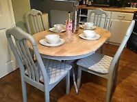Farmhouse / Country Table and Chair Set Refurbished in Farrow & Ball Paint + John Lewis Fabric