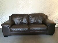 **FREE** Brown Three Seater Leather Sofa - Good Condition