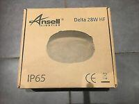 Ansell AD28 HF Delta 28W White/Opal Bulkhead C/L Round LIGHT FITTING