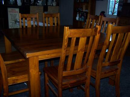 DINING TABLE AND 8 CHAIRS = 9 PIECE DINING SETTING