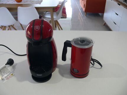 "AS NEW ""DELONGI"" RED COFFEE MACHINE & FROTHER"