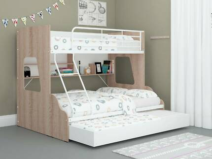 Single Over Double Trio Bunk Bed + Bookshelves & Trundle/Storage