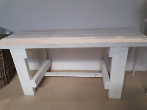 Sturdy white wooden bench Meadowbank Ryde Area Preview