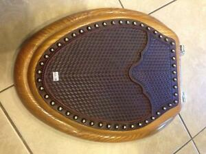 NEW Wooden toilet seat with leather