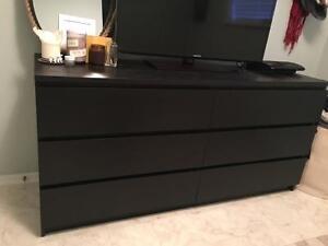 6 Drawer Dresser Dark Brown/Black