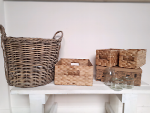 Woven baskets x4, box  and jars Meadowbank Ryde Area Preview