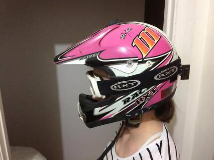 Size S - Pink Moto X racing helmet and goggles