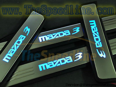 09 10 11 12 13 Mazda3 Stainless LED Door Scuff Plate Sills Plates Mazdaspeed