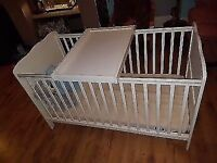 White cot bed with mattress and changing board NEGOTIABLE price