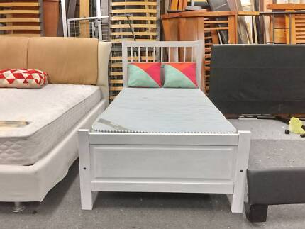 Delivery Today Modern White Wooden Single Bed Mattress Now