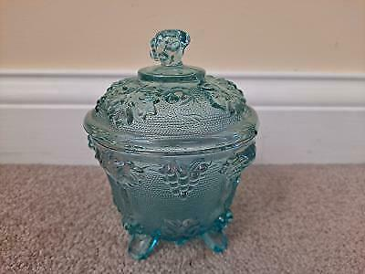 Vintage Jeanette Glass Footed Light Turquoise Harvest Grape Candy Dish with Lid
