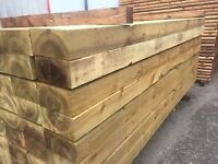 Large railway sleepers 8 foot 240mm x 120mm ( planters garden timber joists 2.4m pressure treated