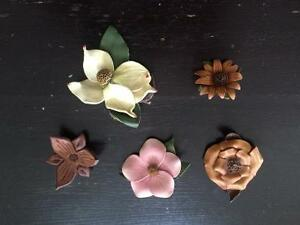 Vintage leather brooches