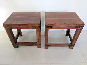 Walnut low stools Turrella Rockdale Area Preview