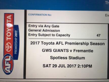 Footy tickets GWS Giants vs Fremantle