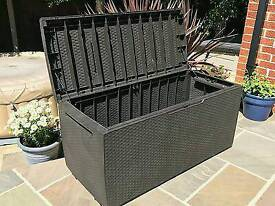 New Keter Capri Rattan Effect Garden Plastic Storage Box Brown 302L Waterproof Bench
