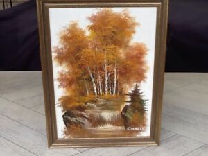 Oil on canvas painting of a woodland and flowing river scene