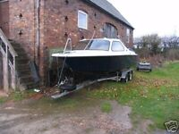 Crescent Speed Boat and Trailer for sale. Classic Cabin Cruiser, GM Chevrolet 5 Litre V8 engine.