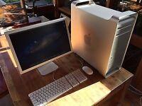 mac pro apple 2 x quad core xeon ,24 gb ddr ram ,ssd 120gb +1.8tb drive ati5770 screen 20