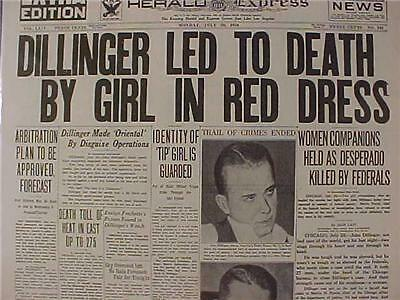 VINTAGE NEWSPAPER HEADLINE ~CRIME GANGSTER KILLED JOHN DILLINGER GUN SHOT DEAD~