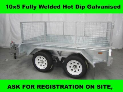 10x5 FULLY WELDED HOT DIP GALVANISED TRAILER 2000KG GVM