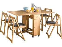 SOLD STC - Argos Oak Finish Emperor Drop Leaf Stowable/Foldable Table and 4 chairs