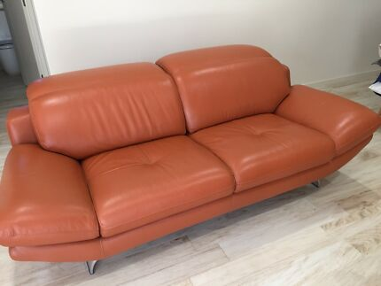 nick scali leather sofa tangerine - Tan Leather Sofa