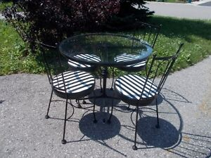 John Hauser Bistro Wrought Iron And Glass Table And 4 Chairs