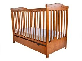 New in box wooden Baby cot bed with included mattress