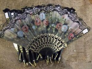 Hand Held Painted Fabric Fans