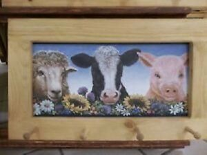 Sheep, Cow, and Pig Art Framed Peg Board